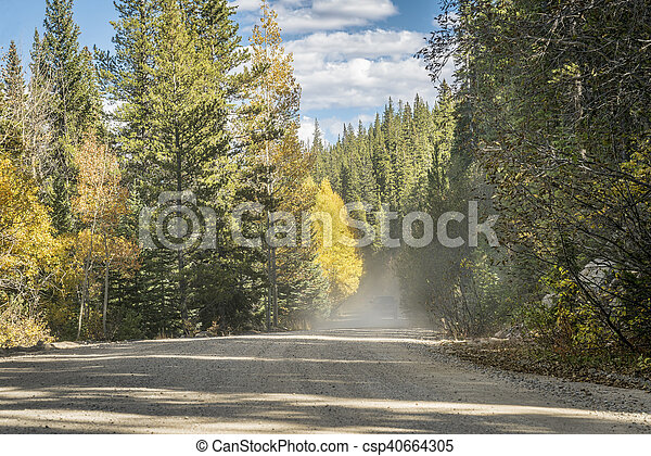 dusty road in Colorado high country - csp40664305