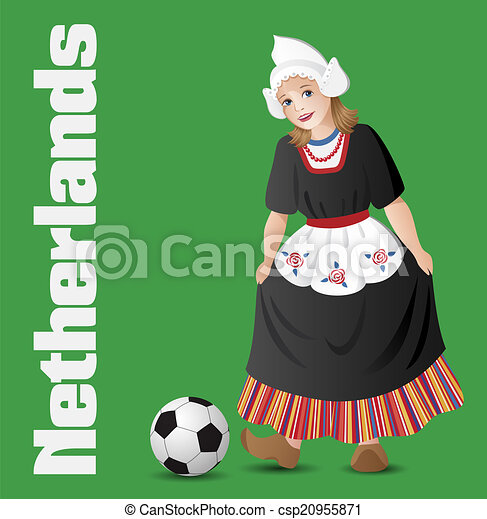 Dutch girl in national costume with soccer ball - csp20955871