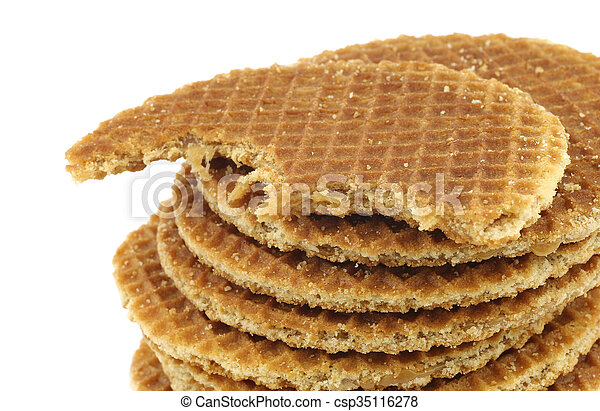 Dutch Waffle Called A Stroopwafel With A Bite Missing On A White Background Canstock