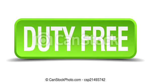 duty free green 3d realistic square isolated button - csp21493742