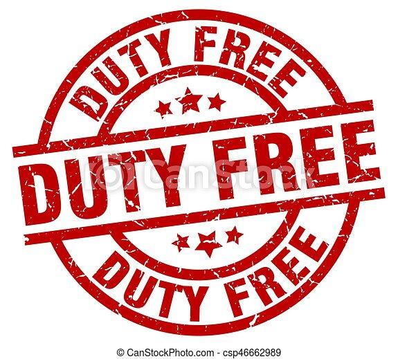 duty free round red grunge stamp - csp46662989