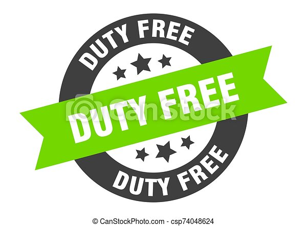 duty free sign. duty free black-green round ribbon sticker - csp74048624