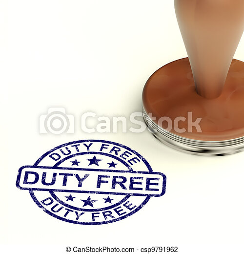 Duty Free Stamp Showing No Tax Shopping - csp9791962
