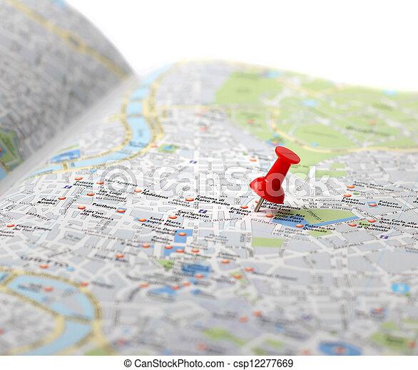 duw, kaart, reis bestemming, spelden - csp12277669