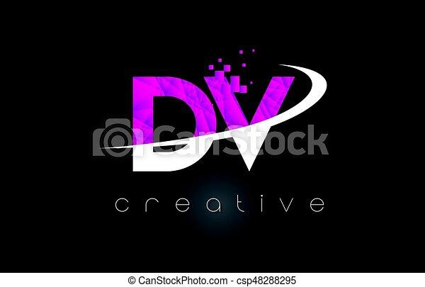 dv d v creative letters design with white pink colors dv d v