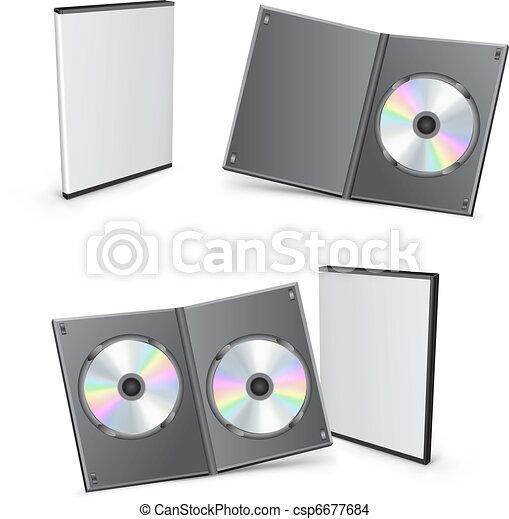 dvd, cajas, vector, 3d - csp6677684