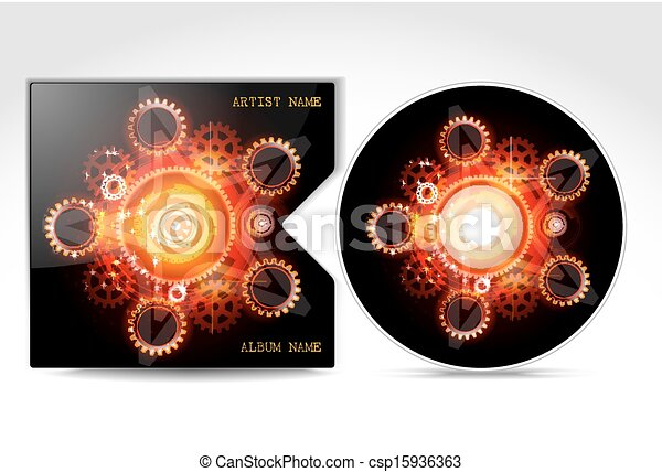 dvd cd cover design template detailed vector