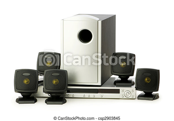 DVD player and speakers isolated on white - csp2903845