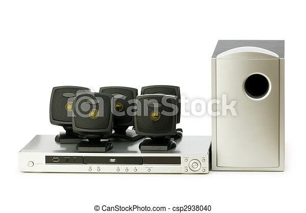 DVD player and speakers isolated on white - csp2938040