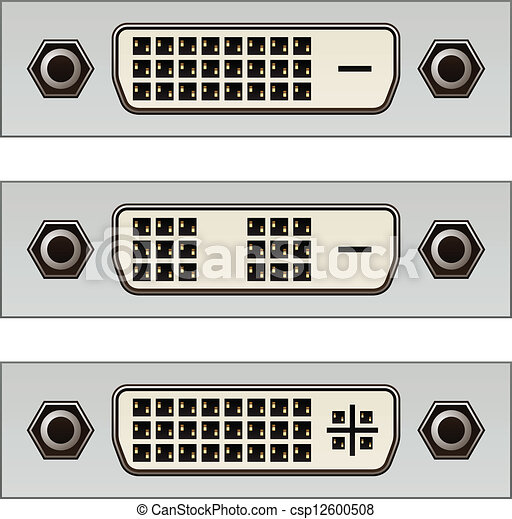 dvi, pc, conectores, vetorial, vídeo, digital - csp12600508