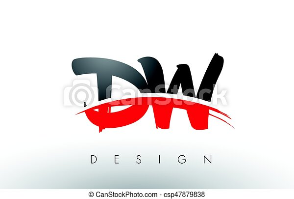 dw d w brush logo letters with red and black swoosh brush vectors rh canstockphoto com
