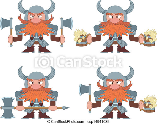 Dwarfs with beer mugs and axes, set - csp14941038