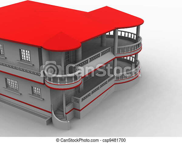 dwelling-house with architectural pretentious novelties and red roof on a white background - csp9481700
