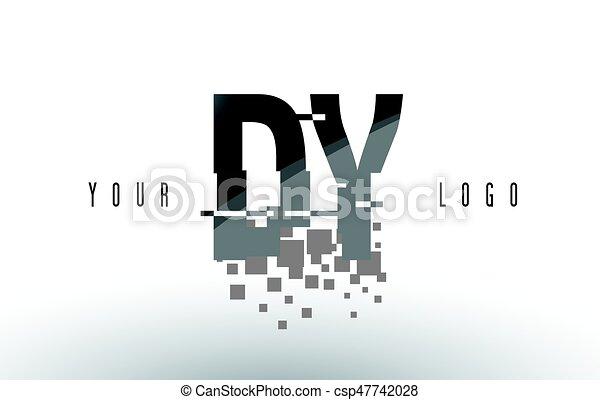 DY D Y Pixel Letter Logo with Digital Shattered Black Squares