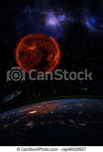 dying sun over the dark planet earth a galaxy is spinning in the