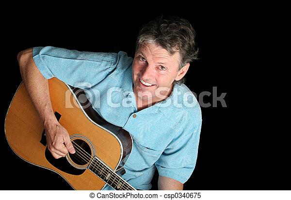 Dynamic Guitarist on Black - csp0340675