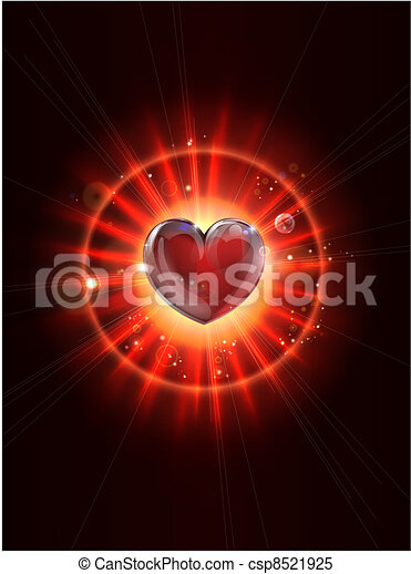 Dynamic light rays heart image - csp8521925