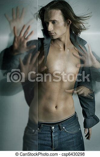 Dynamic photo of a handsome guy with many hands - csp6430298