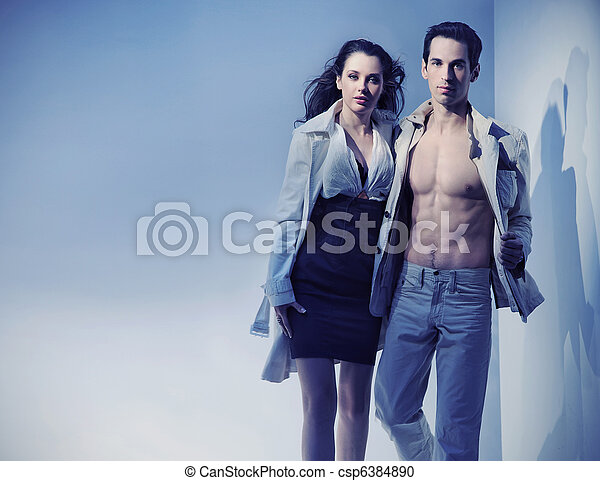 Dynamic photo of a sexy couple - csp6384890