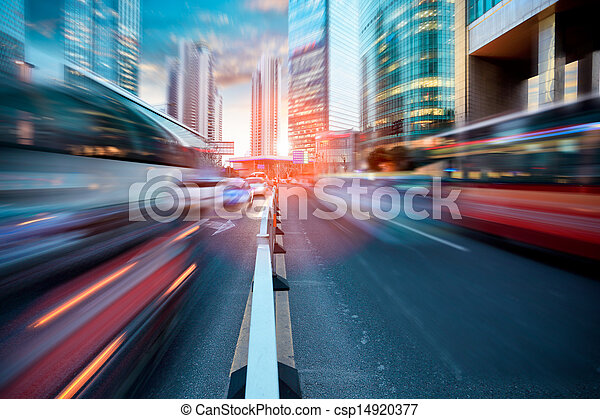 dynamic street in modern city - csp14920377