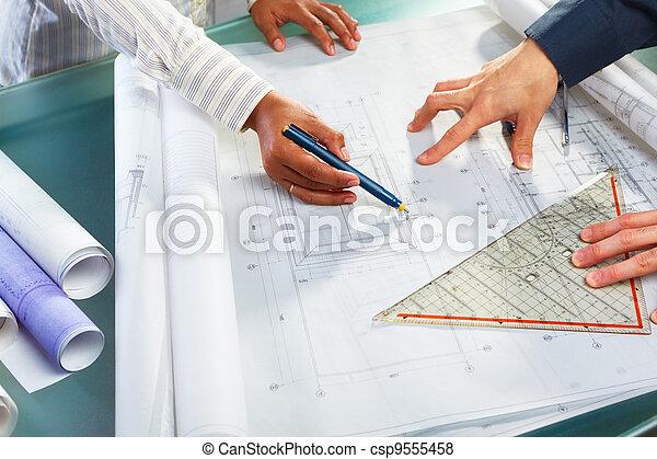dyskusja, projektować, na, architektura - csp9555458