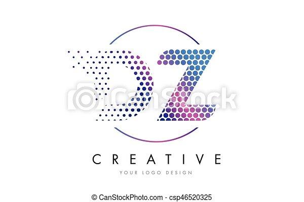 DZ D Z Pink Magenta Dotted Bubble Letter Logo Design Vector