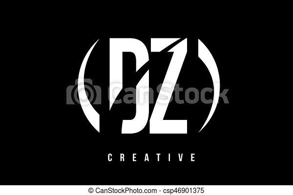 DZ D Z White Letter Logo Design with Black Background