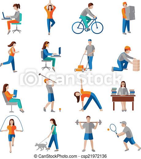działalność, fizyczny, ikony - csp21972136