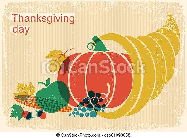 dzień, cornucopia, elementy, szczęśliwy, dynia, afisz, dziękczynienie, rocznik wina, jesień - csp61090058