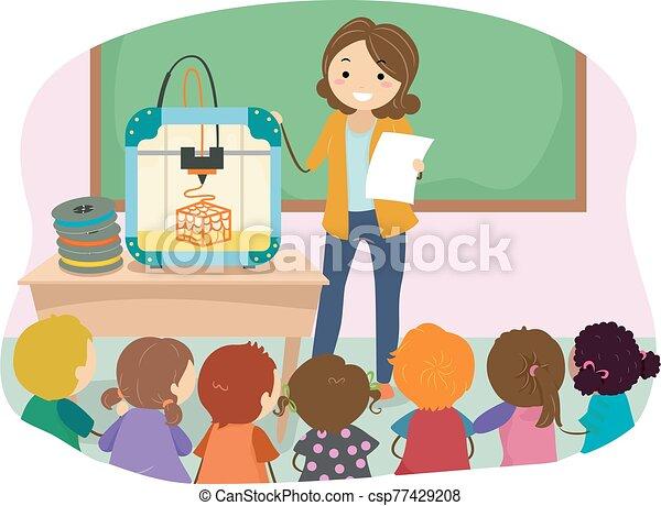 dzieciaki, 3d, ilustracja, nauczyciel, odbijacz, stickman - csp77429208