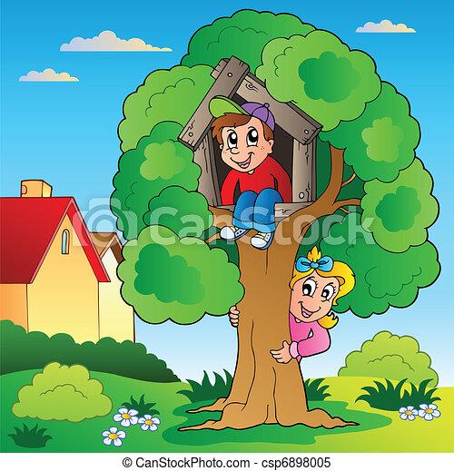 dzieciaki, drzewo, ogród, dwa - csp6898005