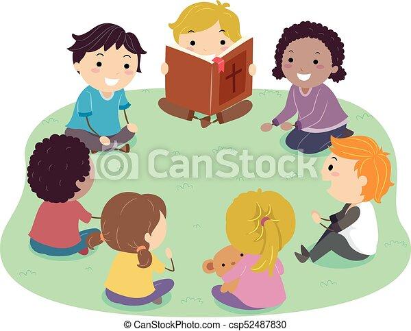dzieciaki, stickman, czytanie, ilustracja, biblia - csp52487830