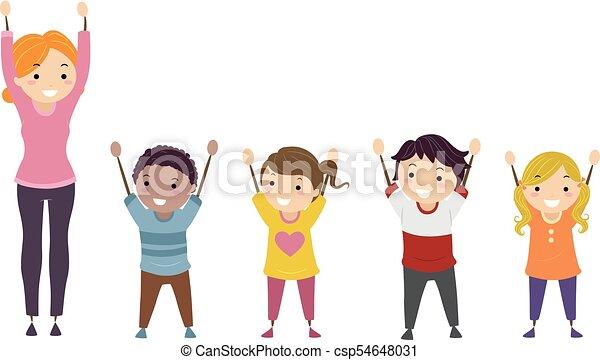dzieciaki, stickman, herb, ilustracja, nauczyciel, zwyżkowy - csp54648031
