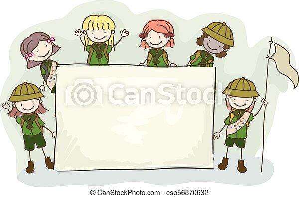 dzieciaki, stickman, ilustracja, deska, wywiadowcy, dziewczyna - csp56870632