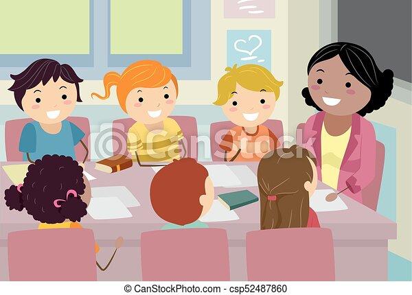 dzieciaki, stickman, ilustracja, rada, spotkanie, nauczyciel - csp52487860