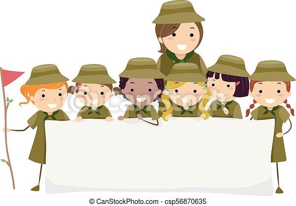 dzieciaki, stickman, ilustracja, wywiadowcy, dziewczyna, chorągiew - csp56870635