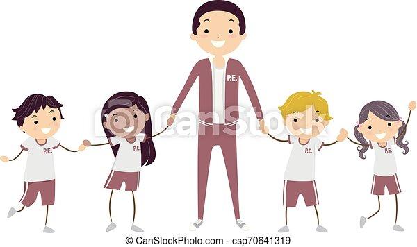 dzieciaki, stickman, nauczyciel, ilustracja, jednolity - csp70641319