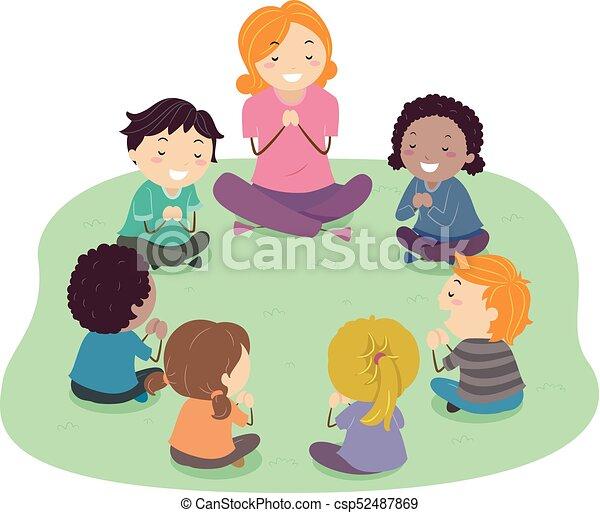 dzieciaki, stickman, nauczyciel, ilustracja, modlitwa - csp52487869