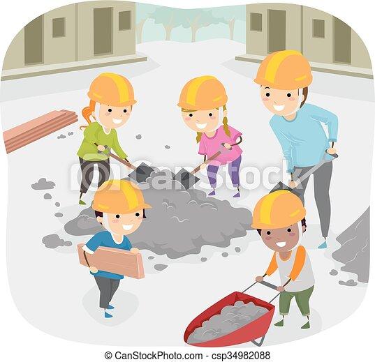 dzieciaki, stickman, pomoc, służba, współposiadanie, nauczyciel - csp34982088