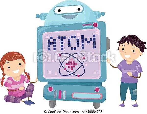 dzieciaki, stickman, robot, ilustracja, atom, nauczyciel - csp49884726