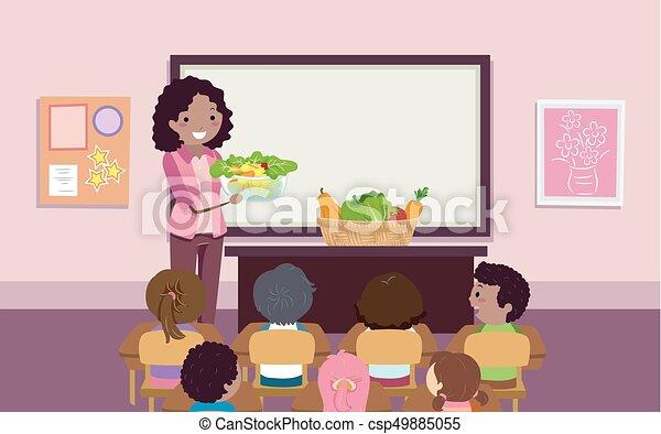 dzieciaki, stickman, sałata, ilustracja, veggies, nauczyciel - csp49885055