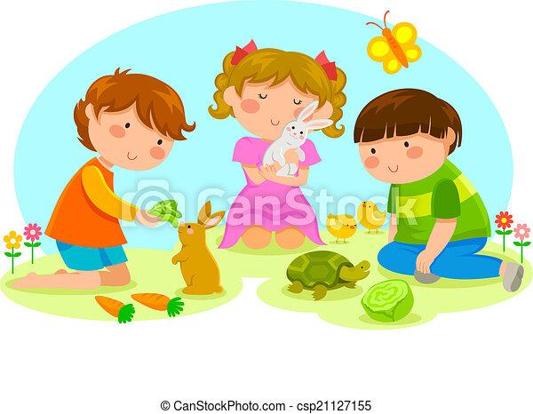 dzieciaki, zwierzęta - csp21127155