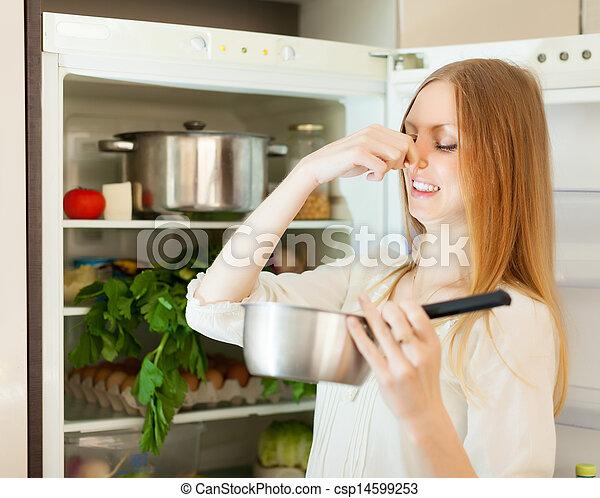 dzierżawa, kobieta, długo-haired, faul, jadło - csp14599253