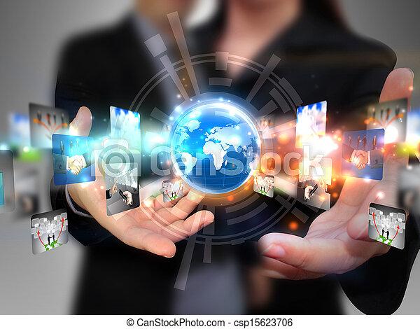 dzierżawa, ludzie handlowe, towarzyski, media - csp15623706