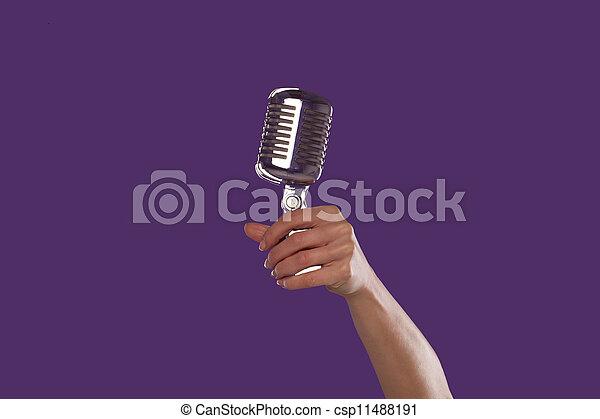 dzierżawa, mikrofon, do góry, samicza ręka - csp11488191