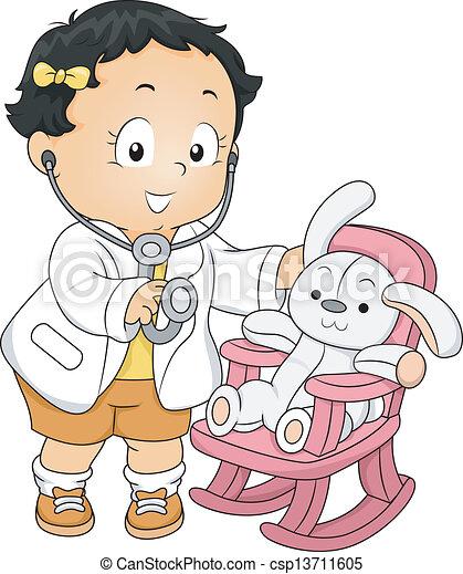 dziewczyna, berbeć, doktor - csp13711605