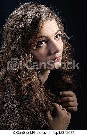 dziewczyna, długi, kędzierzawy, hair. - csp12352674