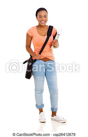 dziewczyna, kolegium, młody, afrykanin - csp26412679