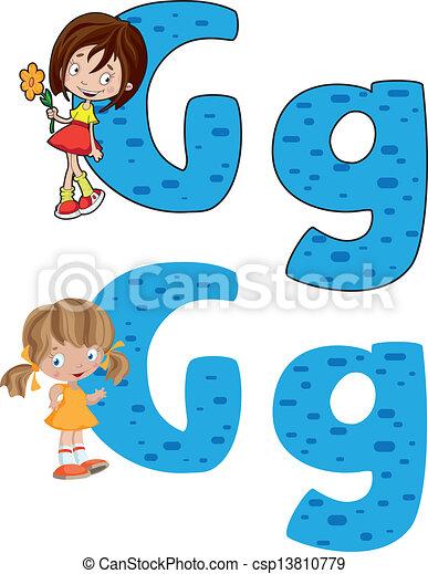 dziewczyna, litera g - csp13810779
