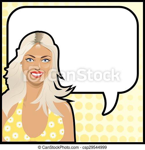 dziewczyna, mówiąc, rozrywajcie sztukę, blondynka - csp29544999